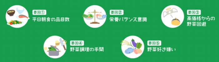 カゴメの全国調査!野菜不足の原因5つ
